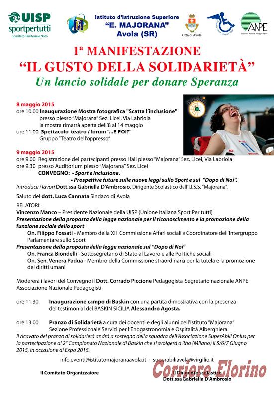 """Ad Avola la prima manifestazione """"Il gusto della solidarietà. Un lancio solidale per donare speranza"""""""