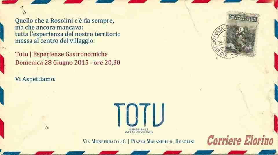 """Domenica 28 giugno a Rosolini arriva """"Totu – Esperienze gastronomiche"""""""