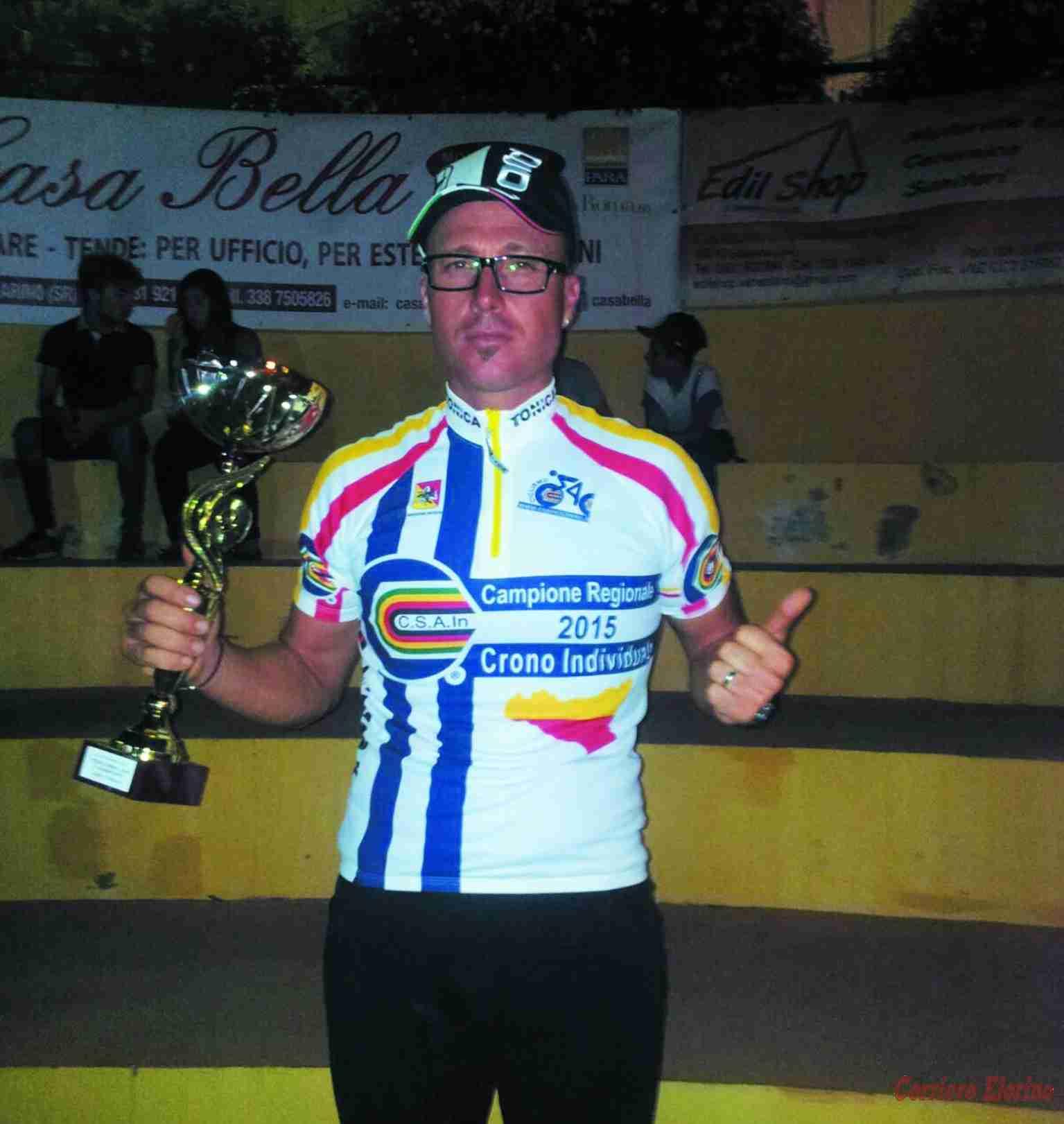 Fabio Di Rosolini vince la maglia di Campione Regionale Csain 2015 – Crono individuale