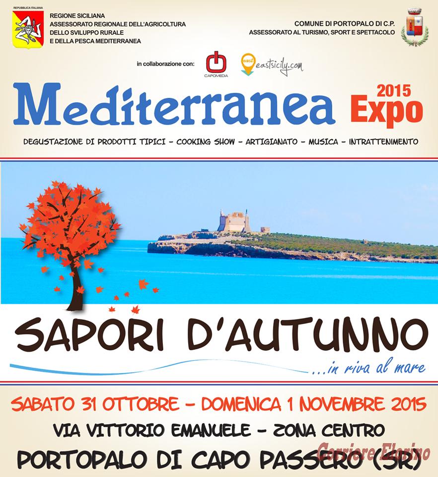 """PORTOPALO, WEEK END DI GUSTO CON """"MEDITERRANEA EXPO 2015 – SAPORI D'AUTUNNO IN RIVA AL MARE"""""""