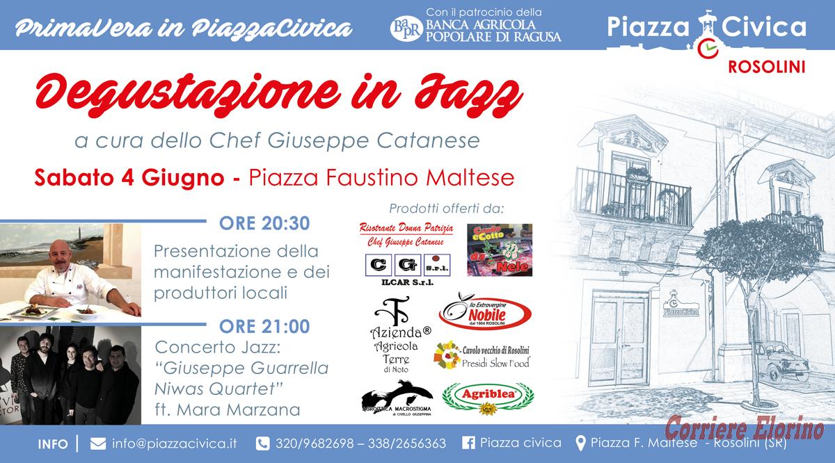 """""""Degustazione in Jazz"""", sabato 4 giugno il secondo appuntamento con la """"Primavera in Piazza Civica"""""""