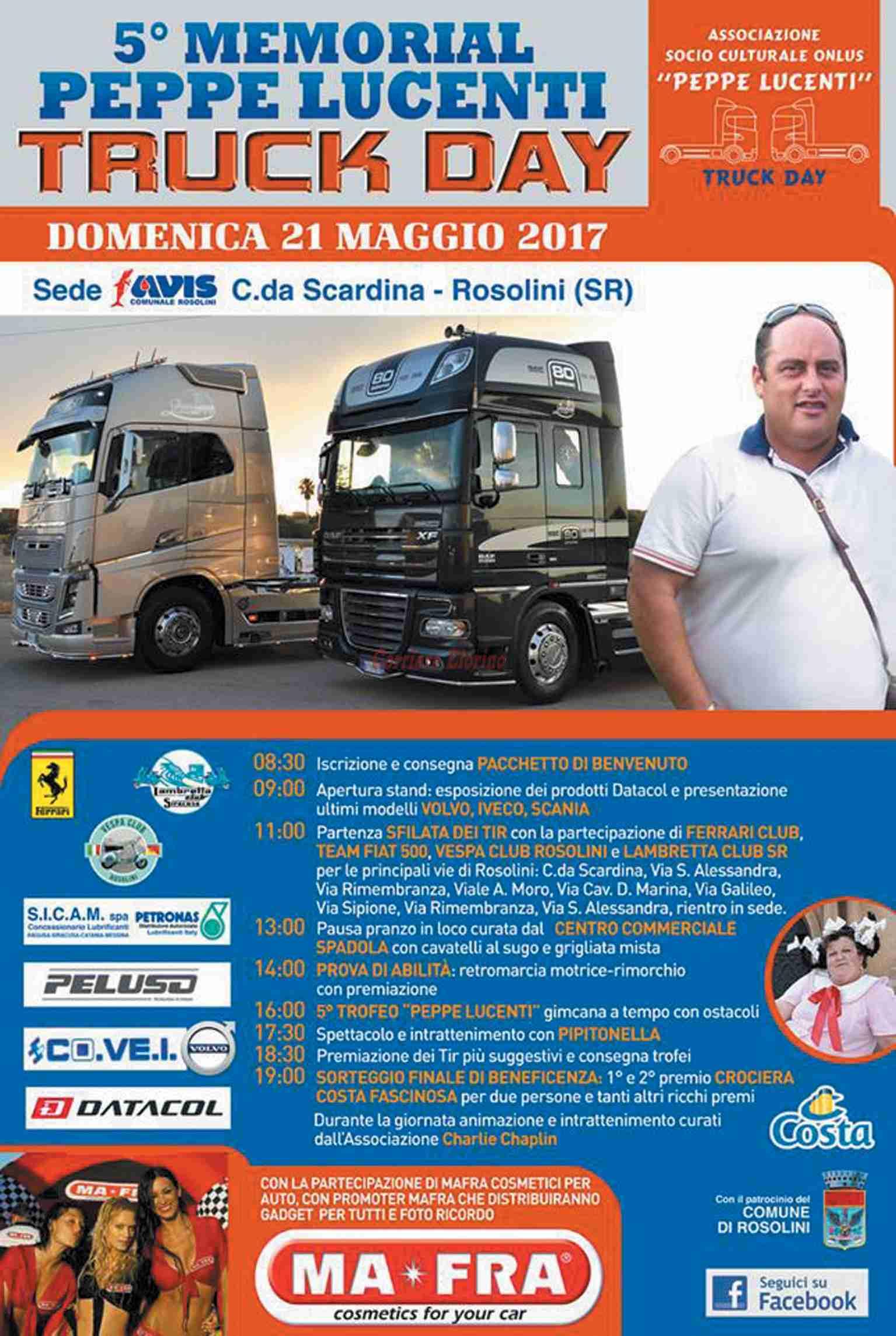"""Domenica 21 maggio ritorna il """"Truck Day"""" in ricordo di Peppe Lucenti"""