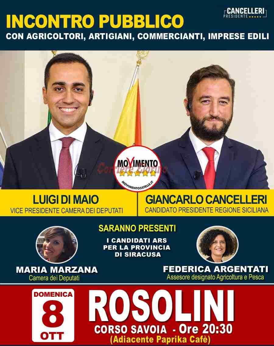 Domenica sera Luigi Di Maio e Giancarlo Cancelleri a Rosolini per incontrare agricoltori, artigiani e commercianti