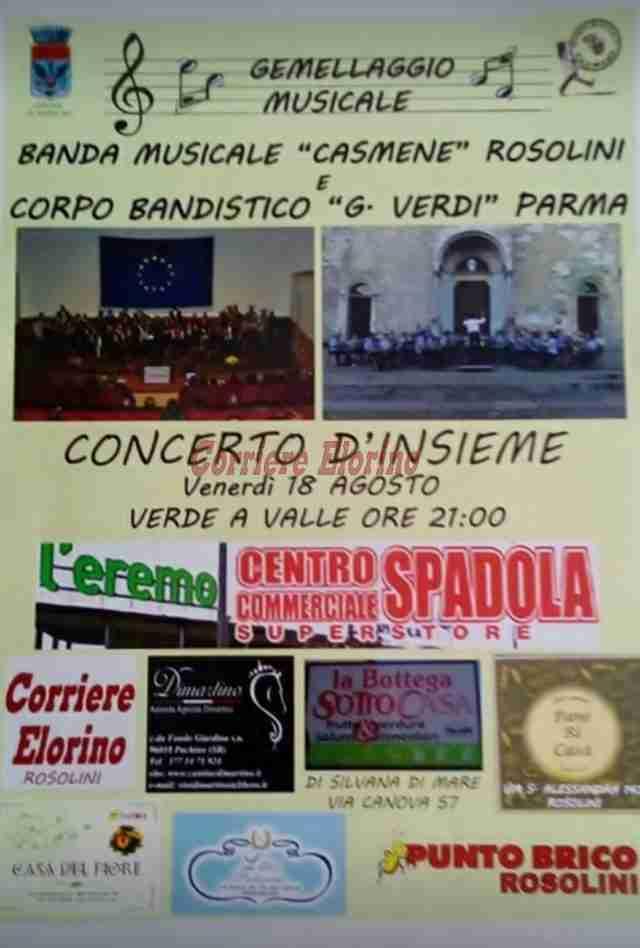 Corpo Bandistico di Parma e la Casmene di Rosolini insieme in concerto