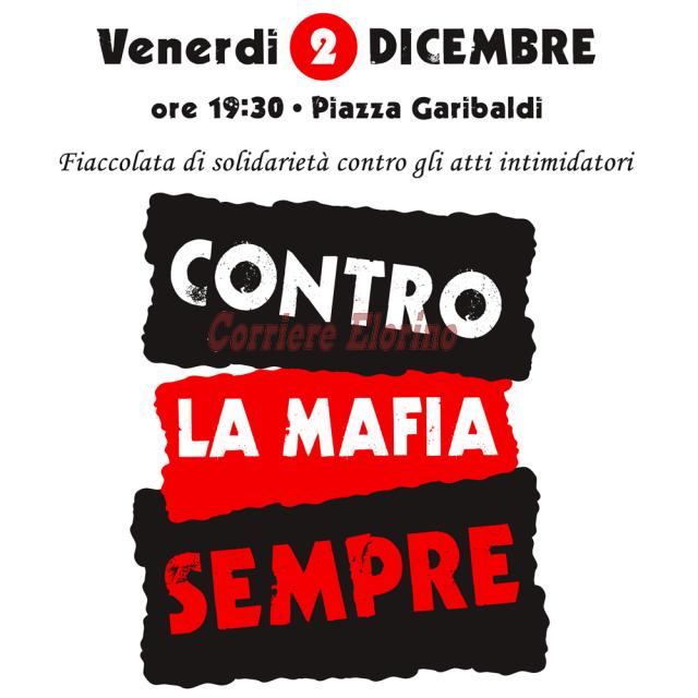 """Venerdì 2 dicembre la """"Fiaccolata per la legalità, contro la mafia sempre"""""""
