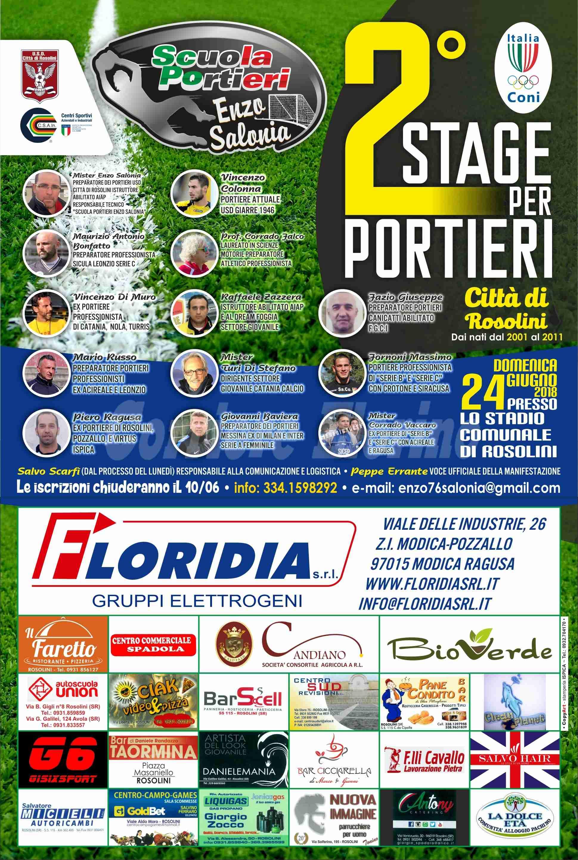 Aperte le iscrizioni per il 2° Stage per Portieri che si terrà a Rosolini il 24 giugno