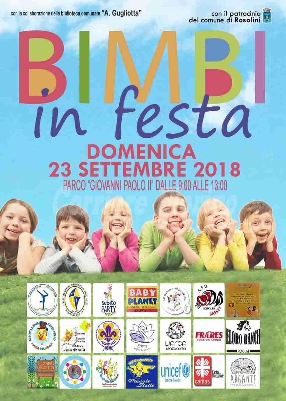 """Domenica 23 settembre 3^Edizione di """"Bimbi in Festa"""""""
