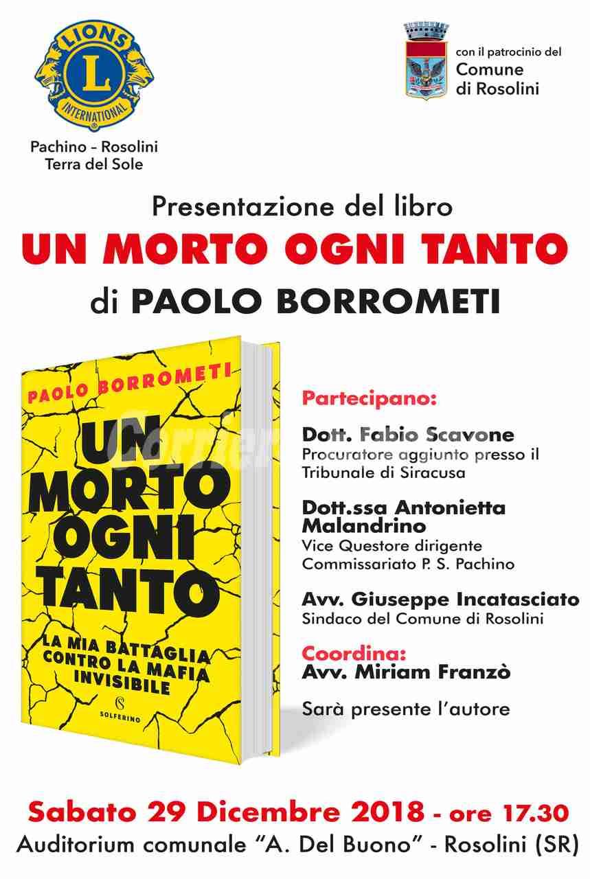 """Sabato 29 dicembre Paolo Borrometi a Rosolini per presentare il libro """"Un morto ogni tanto"""""""