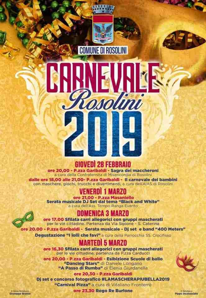 Carnevale 2019: il programma delle manifestazioni