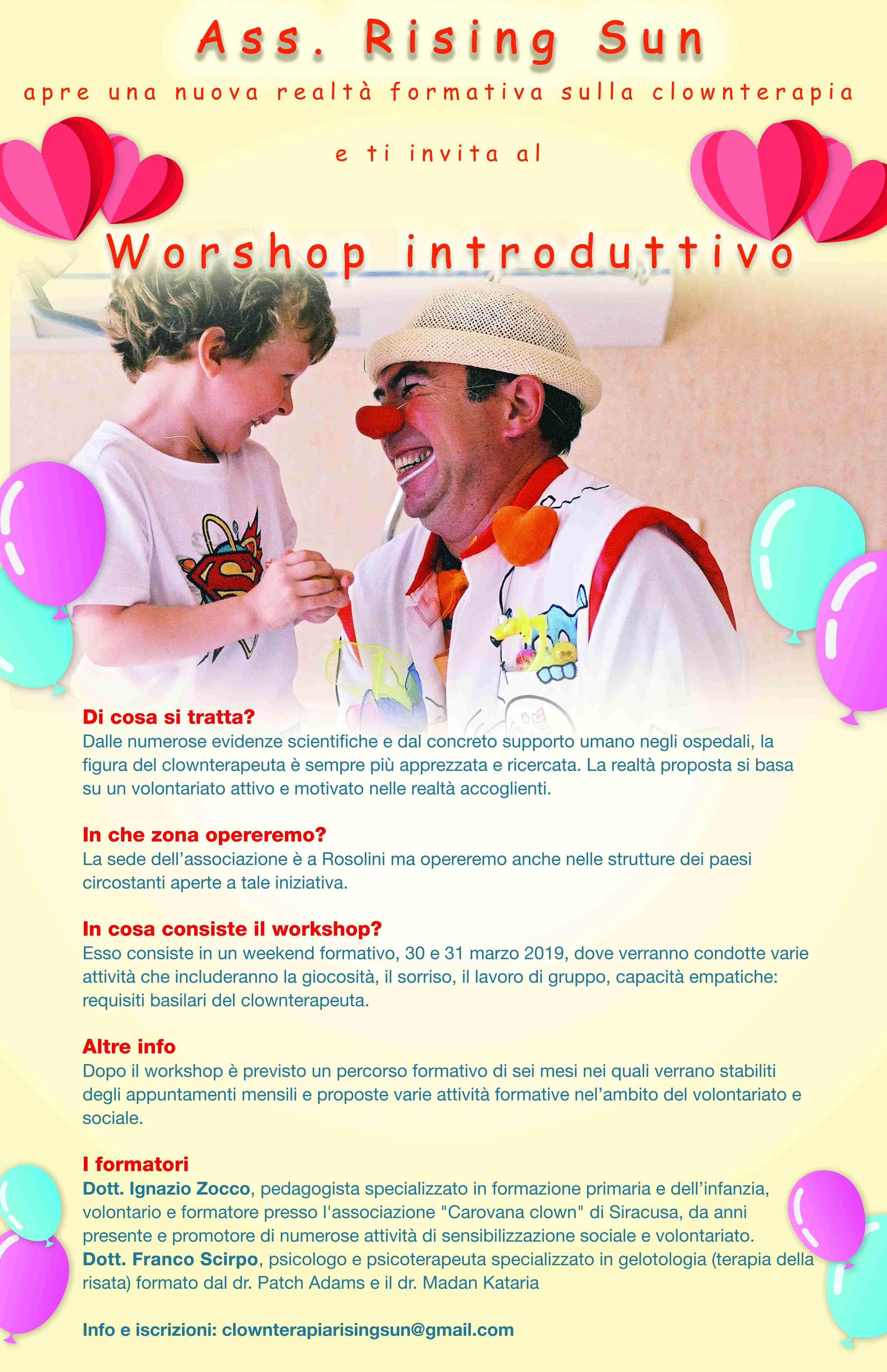 Workshop di Clownterapia promosso dall'Ass. Rising Sun: info e iscrizioni