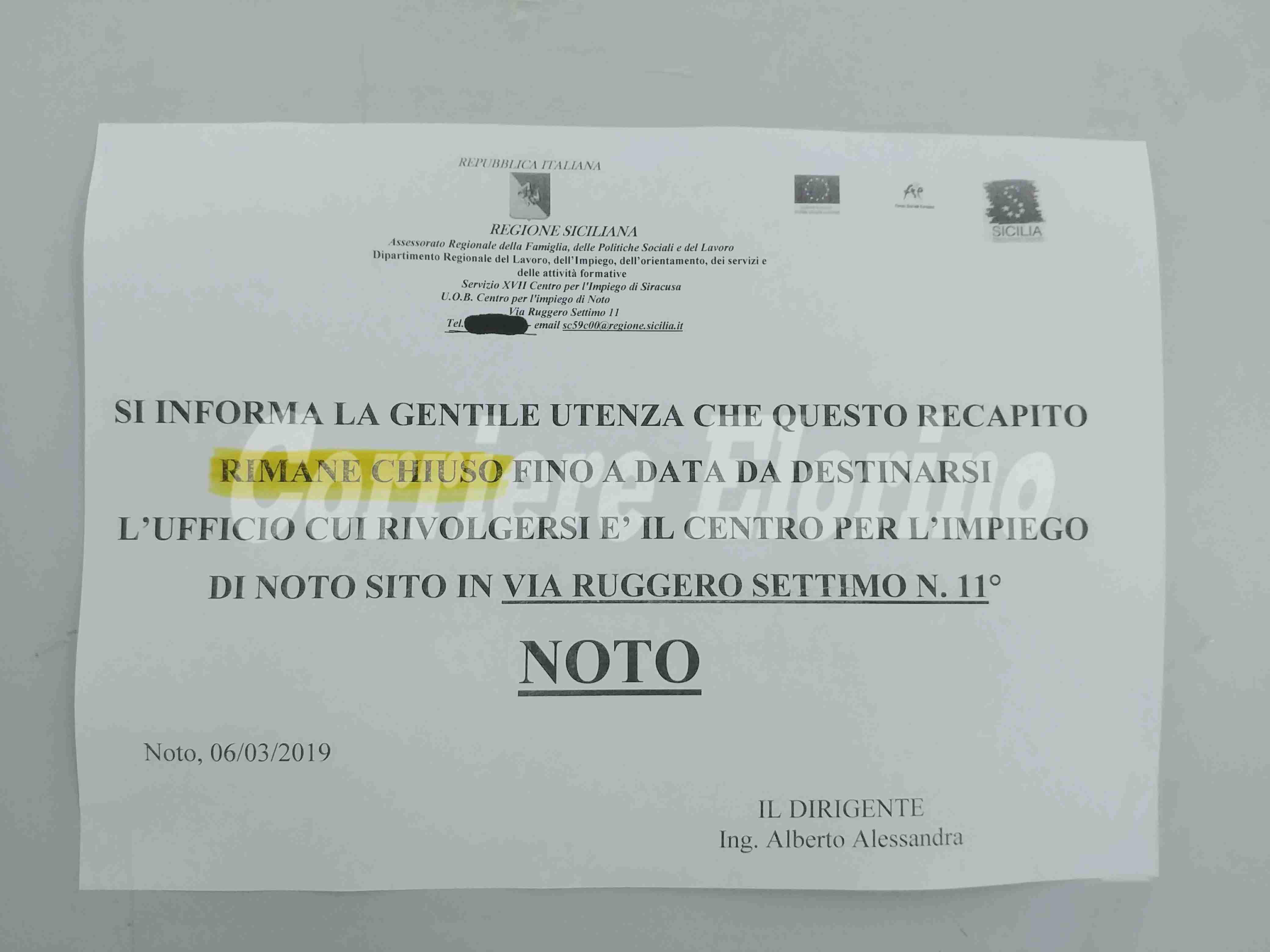 Ufficio di Collocamento chiude e si sposta a Noto: disservizi per i rosolinesi