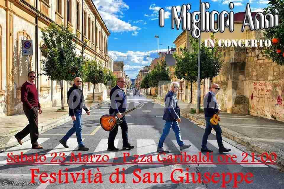 """Festa di S.Giuseppe: stasera in Piazza Garibaldi concerto de """"I Migliori Anni"""""""
