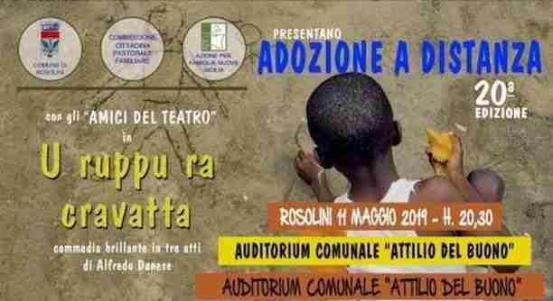 Adozioni a distanza: l'11 maggio serata teatrale promossa dal Movimento Famiglie Rosolini
