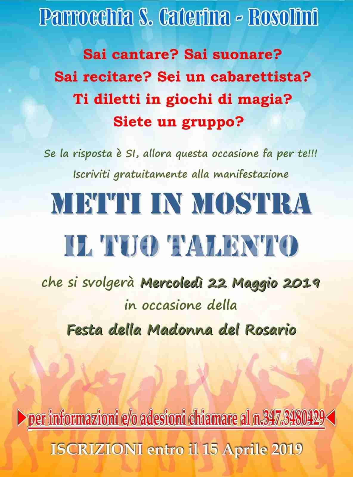 """La parrocchia S. Caterina ti invita: """"Metti in mostra il tuo talento"""". Iscrizioni entro il 15 aprile"""