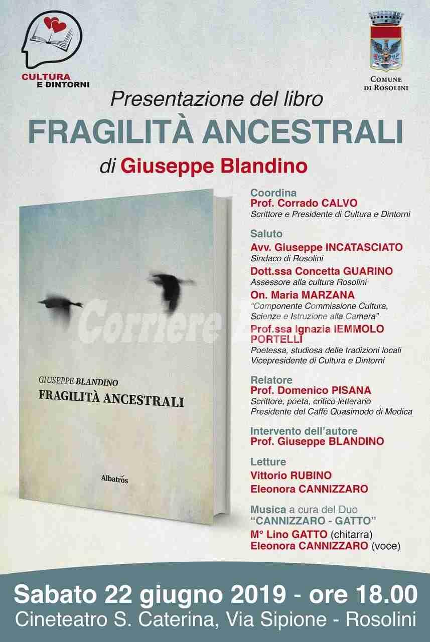 """""""Fragilità Ancestrali"""", sabato presentazione del libro del prof. Blandino"""