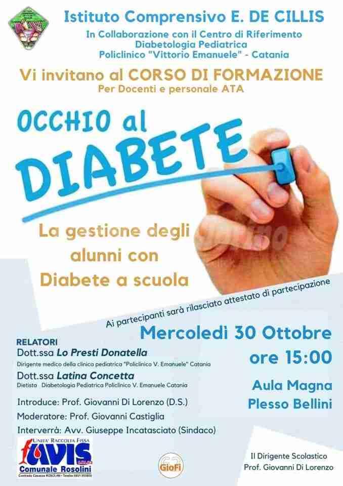 """""""Occhio al diabete"""", oggi alle 15 formazione per docenti e Ata all'Istituto De Cillis"""