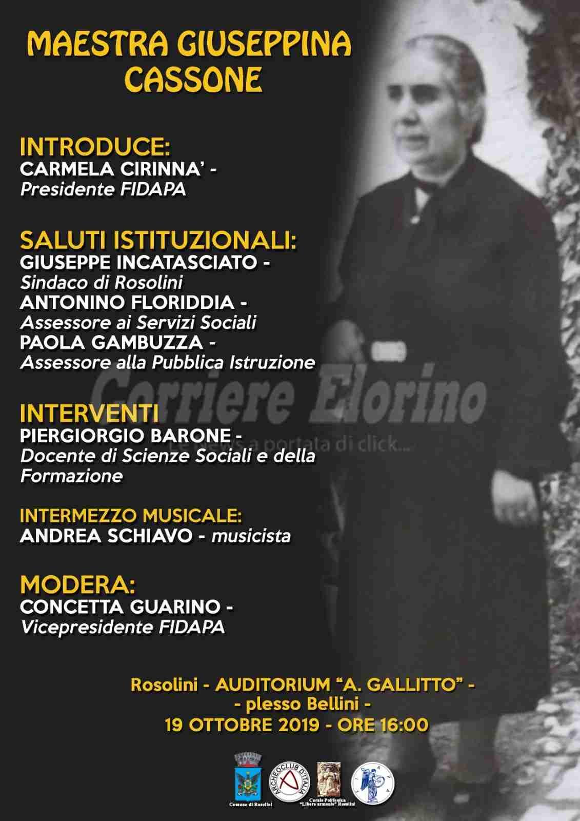 La FIDAPA ricorda la maestra Giuseppina Cassone: domani l'appuntamento