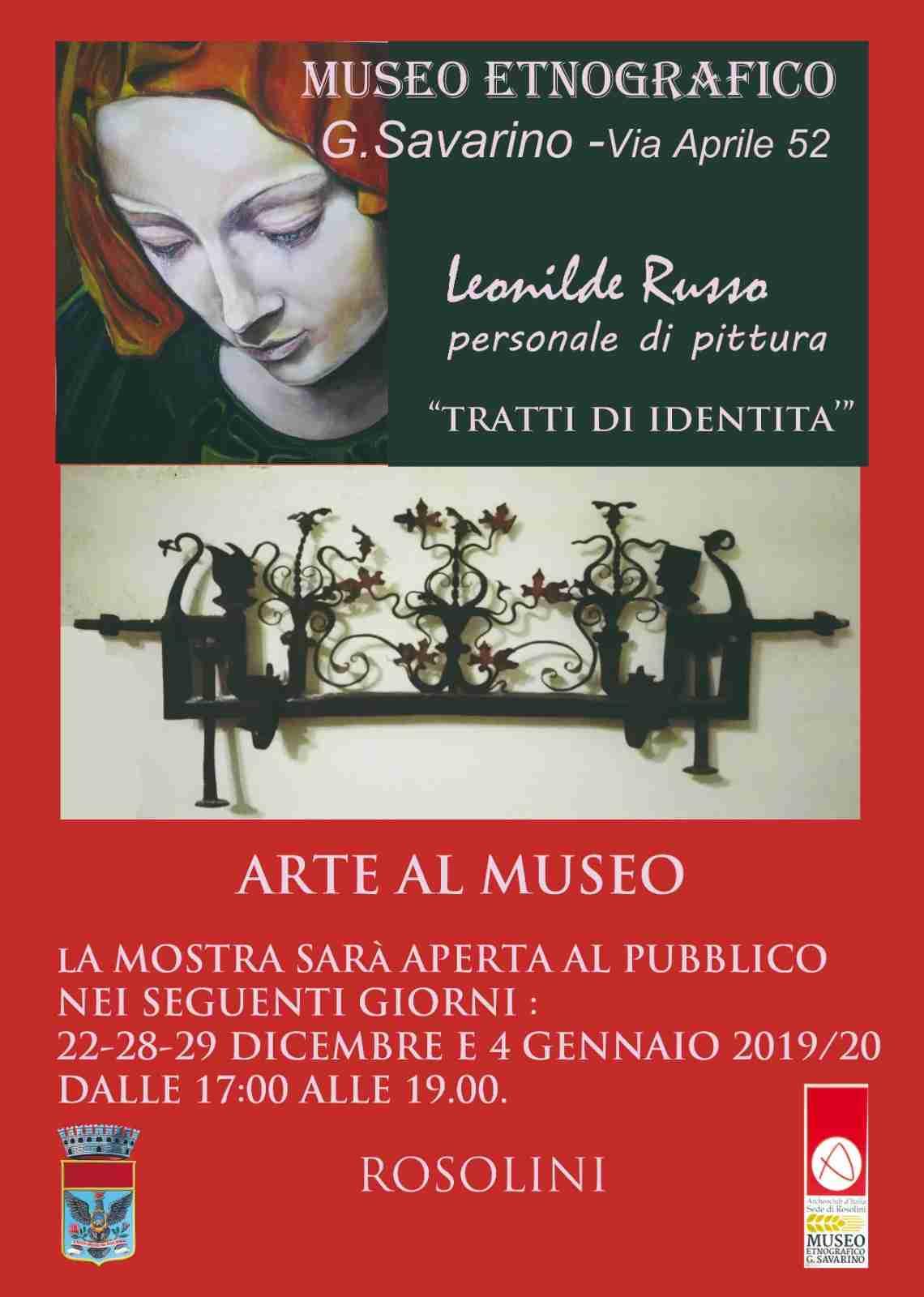 """""""Tratti d'identità"""", l'arte di Leonilde Russo in mostra al Museo Etnografico"""