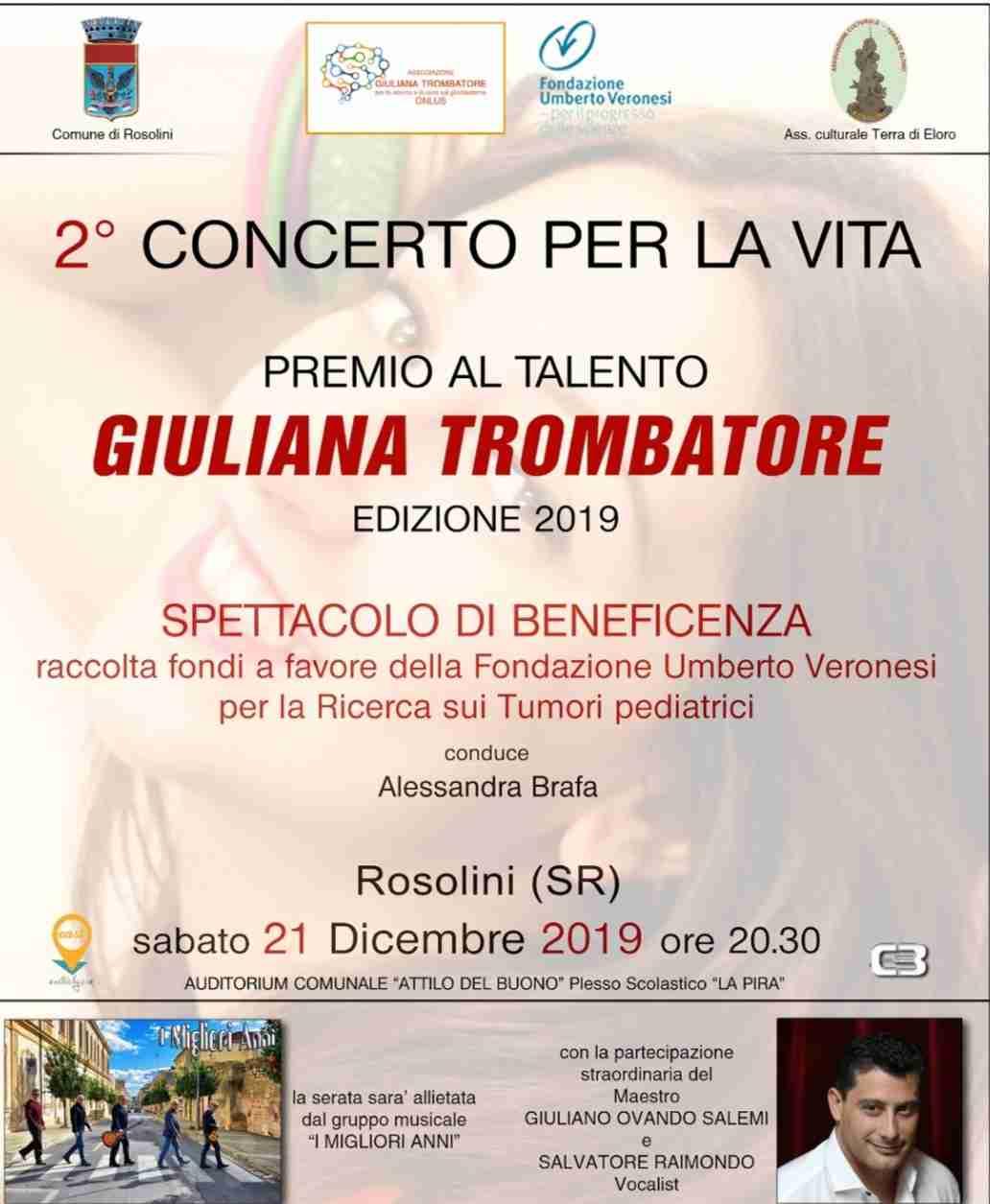 """Sabato 21 dicembre: """"Concerto per la vita: Premio al talento Giuliana Trombatore"""""""