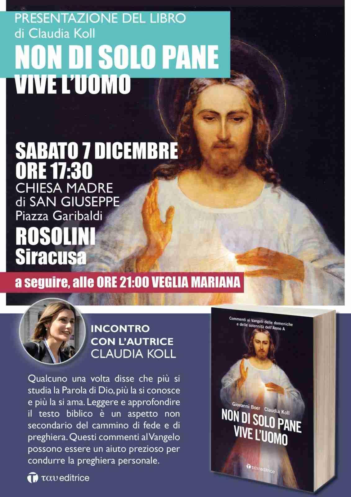 Il 7 dicembre Claudia Koll ospite in Chiesa Madre per presentare il suo nuovo libro