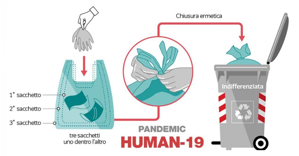 Coronavirus – Raccolta rifiuti: guanti, mascherine e fazzoletti nell'indifferenziata e in doppio sacco