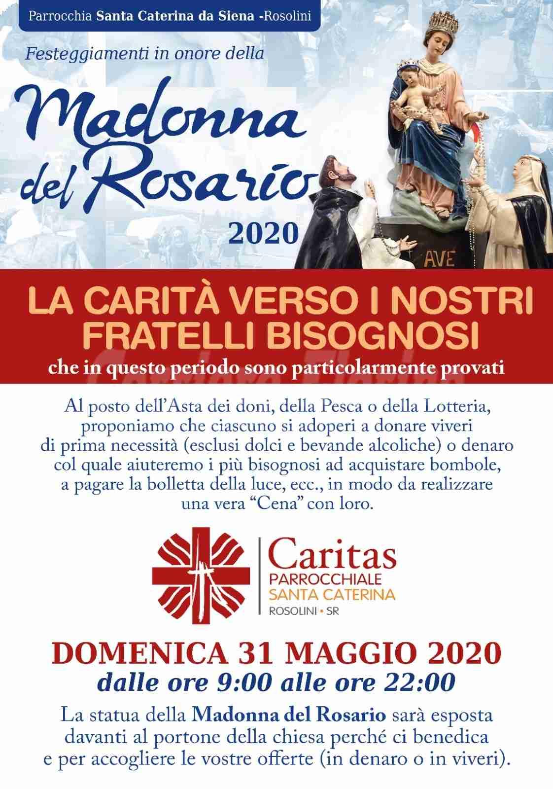 Festa della Madonna del Rosario: al posto della tradizionale asta, raccolta di doni per i bisognosi