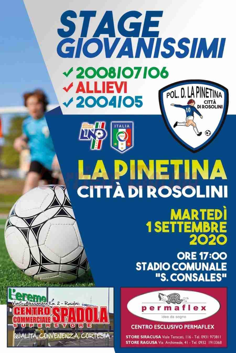 """Martedi 1 settembre il primo stage de """"La Pinetina Città di Rosolini"""" aperto ai giovanissimi"""