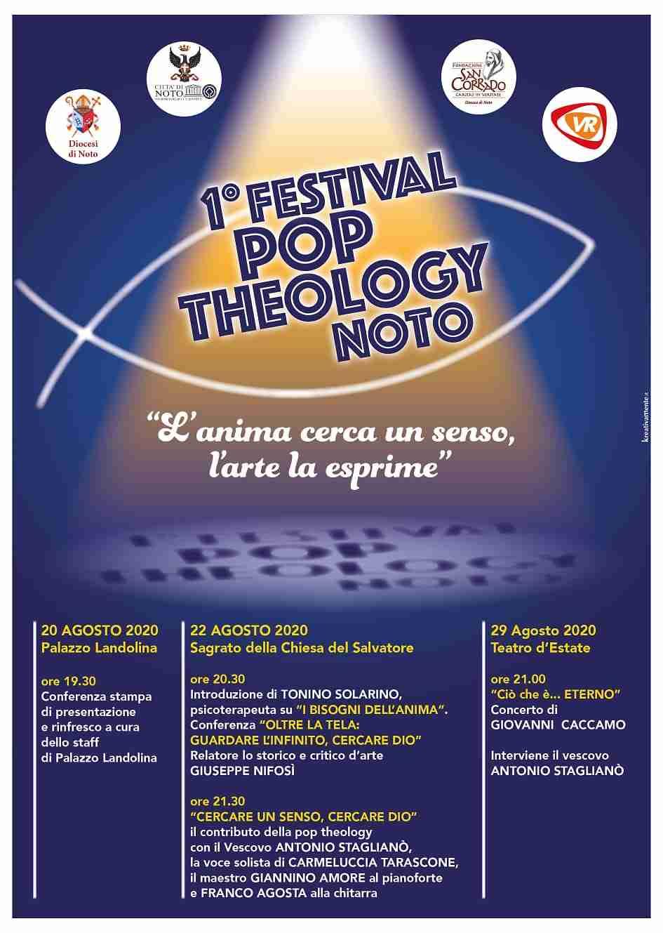 """Il 22 e il 29 agosto Primo Festival di Pop Theology a Noto: """"L'anima cerca un senso, l'arte la esprime"""""""