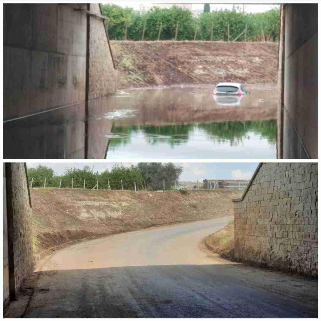 Sottopasso autostradale di contrada Tagliati, il Cas ripulisce dopo l'allagamento