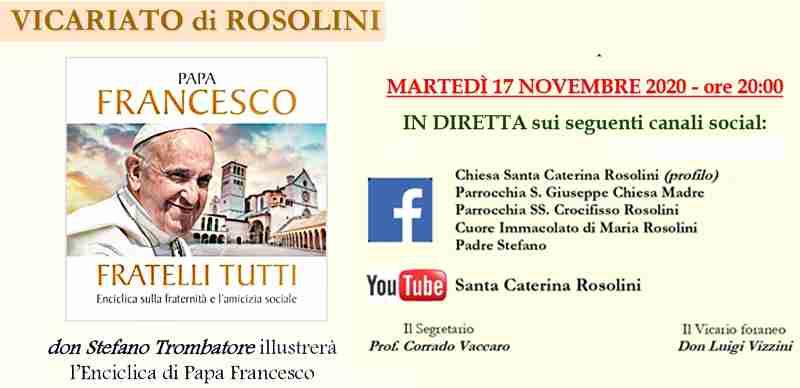 Domani, in diretta Facebook, appuntamento con Don Stefano Trombatore:  illustrerà l'enciclica di Papa Francesco