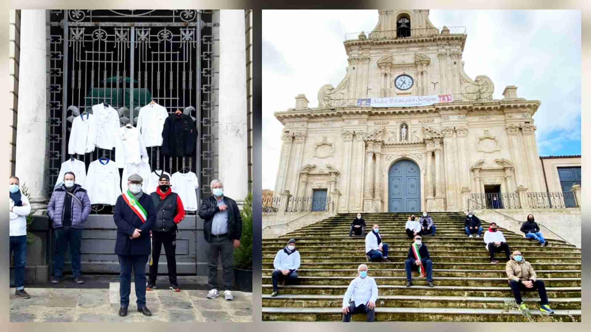 """Ristoratori, camici appesi sul cancello del Municipio, il sindaco Gallo: """"Palazzolo è in ginocchio"""""""