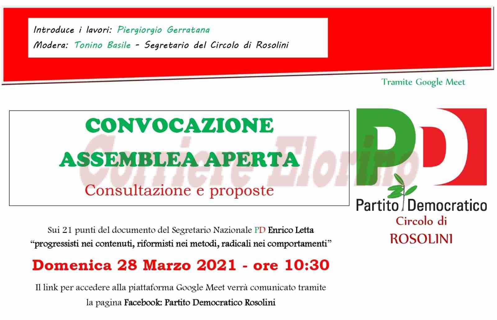 """Pd Rosolini: il 28 marzo l'assemblea aperta sul """"vademecum"""" programmatico di Letta"""