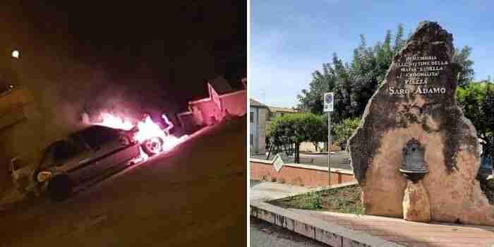 Rosolini, auto data alle fiamme davanti la piazza antiracket e usura