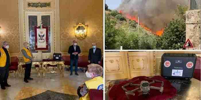 Noto, un drone per la lotta contro gli incendi, la donazione del Lions Club International Distretto 108 Yb
